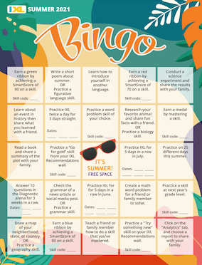 IXL Colorful Summer Bingo PDF