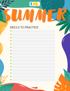 IXL Summer Skill List Version Maths PDF