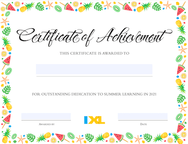 IXL Summer Certificate Version 1 PDF