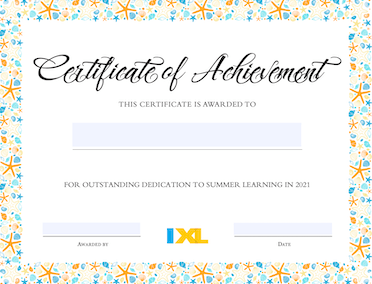 IXL Summer Certificate Version 2 PDF