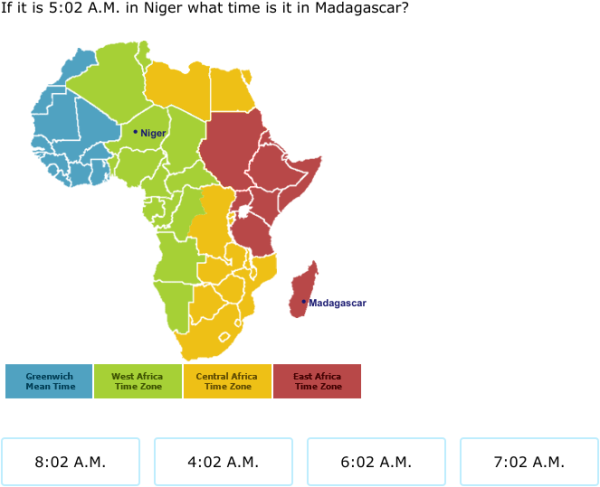 IXL Time Zones Hour Time Grade Maths Practice - Madagascar time zone map